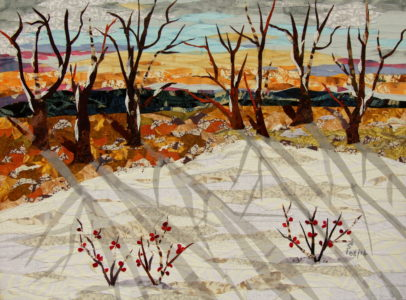 A Winter Morning, fabric collage on canvas, $1000