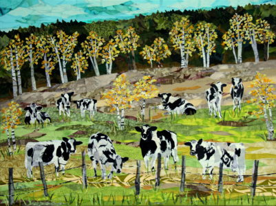 Cows Dayout, fabric collage on canvas, $1000