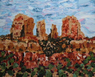 Sedona Rocks, fabric collage on canvas, $1000