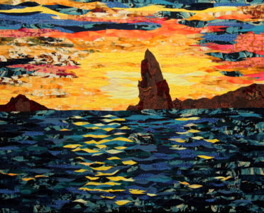 Sunset over Pinnacle Rock, fabric collage on canvas, $1000