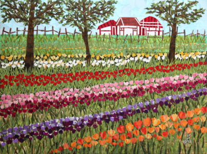 Tulip Fest, fabric collage on canvas, $700
