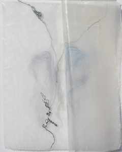 """River Vein Folded, mixed media with silk - 6"""" x 6 3/4"""""""