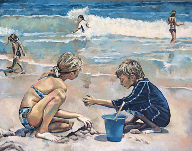 Kids at Beach, 2011 - Oil, 24x30